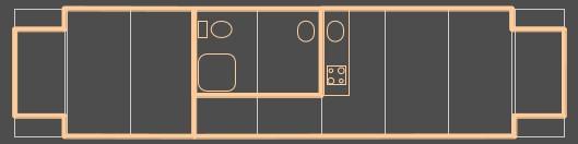 Der Grundriss der Gartenlaube: Links ist das Schlafzimmer. In den Einstiegsraum wird ein Kleiderschrank eingebaut. In der Mitte befindet sich das Badezimmer. Der Gang davor ist 1 m breit.