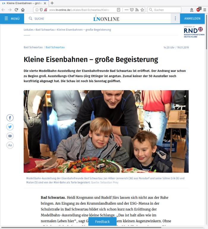 Ausstellung in Bad Schwartau in den Lübecker Nachrichten